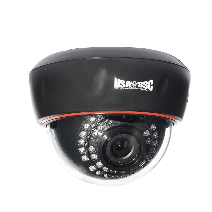 Indoor Dome Camera, IR LEDs +/-  50', Color, 700TVL, 12VDC, 3.6mm, NTSC, Black Housing