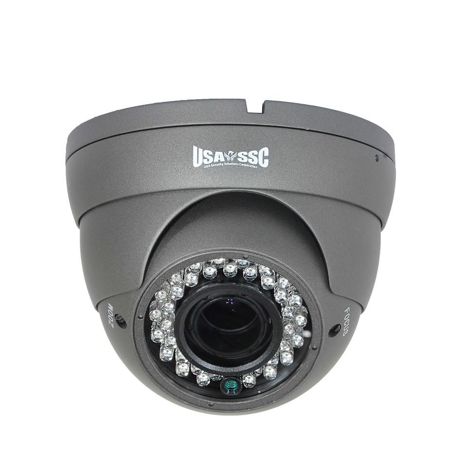 Indoor/Outdoor Dome Camera, IR LEDs +/- 100', Color, 700TVL, 12VDC, 4-9mm, IP65, NTSC, Grey Housing