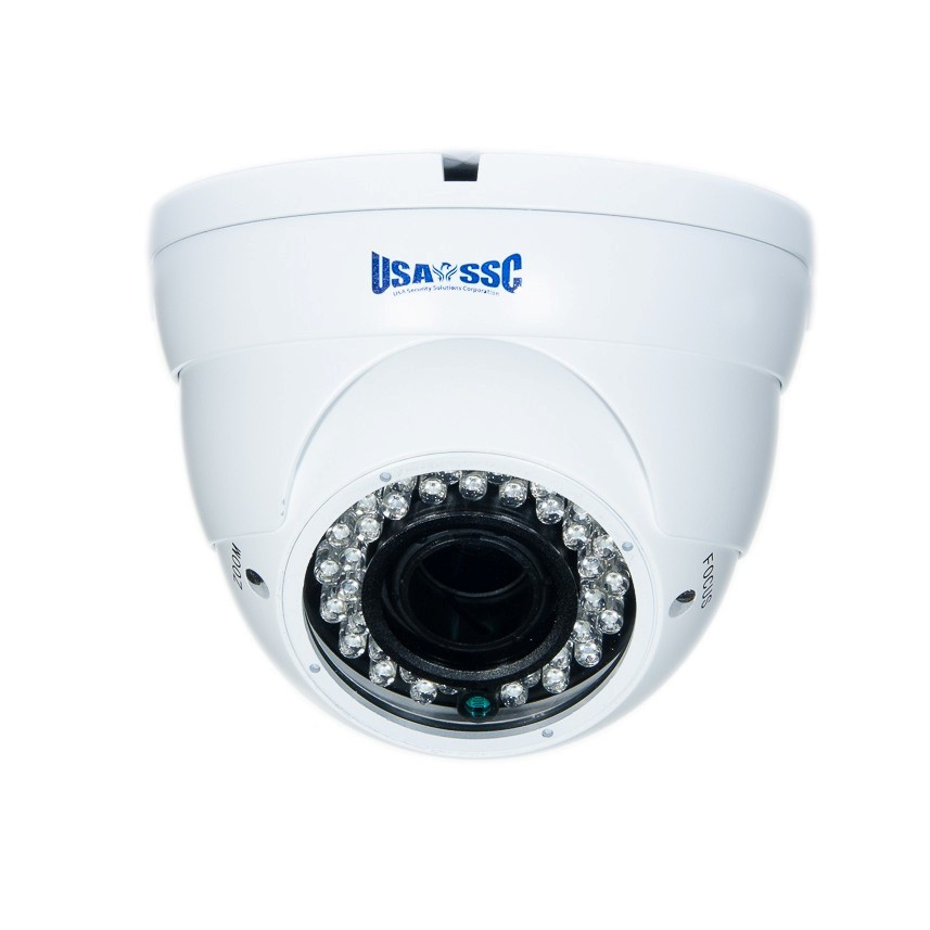 Indoor/Outdoor Dome Camera, IR LEDs +/- 100', Color, 420TVL, 12VDC,  4-9mm, IP65, NTSC, White Housing