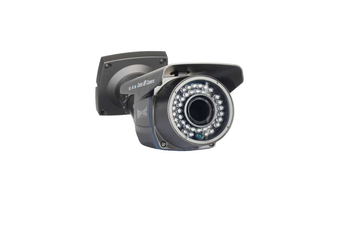 Indoor/Outdoor Bullet Camera, IR LEDs +/- 100', Color, 700TVL, 12VDC, 4-9mm, IP66, NTSC, Grey Housing