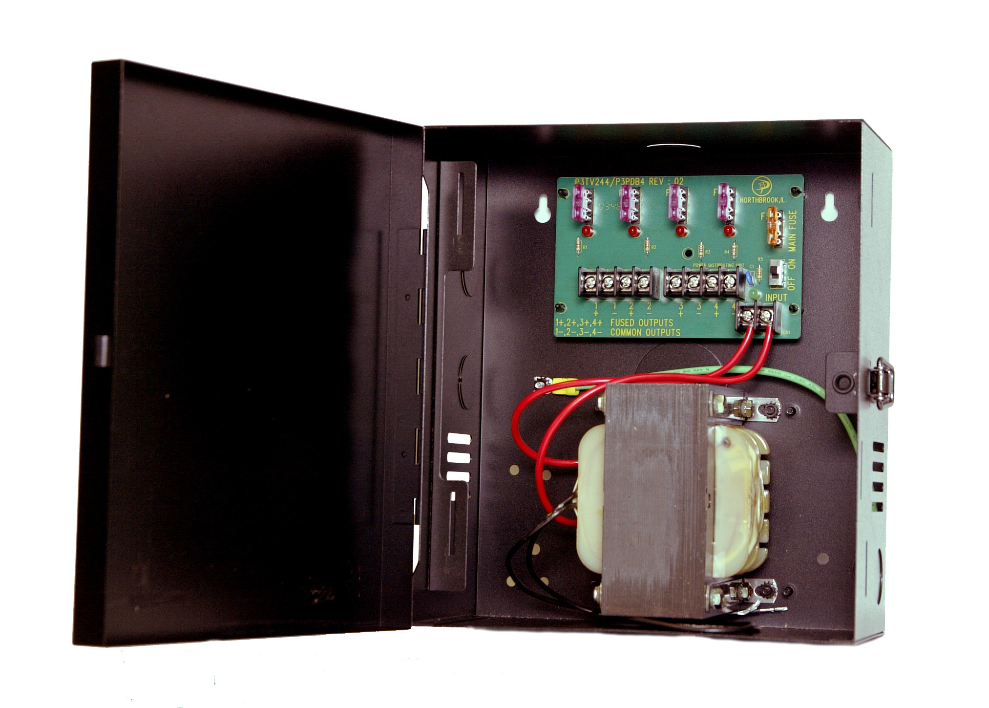 CCTV Power Supply - 24 VAC, 4 Out, 12.5 Amp, Fused