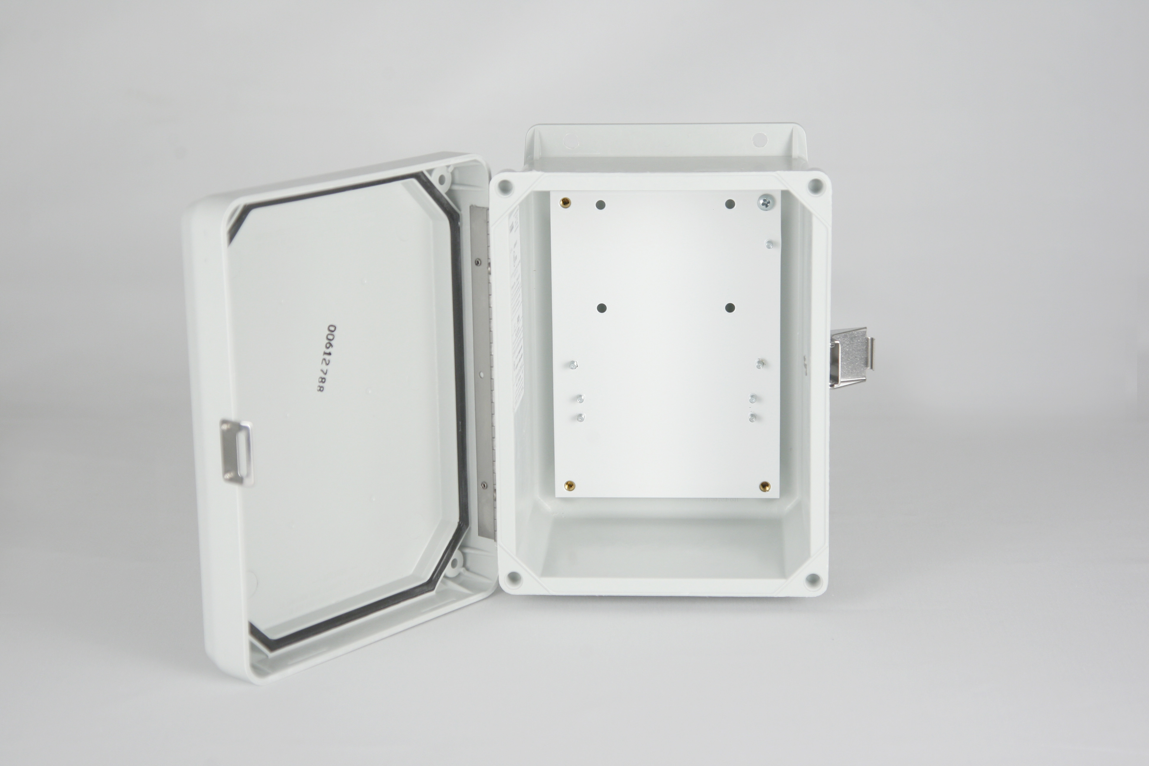 """Wall Mount Enclosure - NEMA 4X Weather Proof Enclosure (8""""H x 6""""W x 4""""D) - Gray - w/ Back Plate - UL LISTED"""