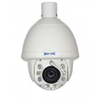 IP Network Camera, Indoor/Outdoor PTZ Camera w/ Wiper, 2MP, 20x Zoom, IP65, IR Working Distance 100M (328 feet), 12VDC, NTSC, White Housing
