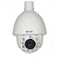 IP Network Camera, Indoor/Outdoor PTZ Camera w/ Wiper, 2MP, 20x Zoom, IP65, IR Working Distance 100M (328 feet), 12VDC, NTSC, White Housing