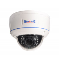 HD-TVI Camera, Indoor/Outdoor Dome Camera, Vandalproof, 1080p (2MP), 2.8-12mm varifocal lens, IP66, IR (Working Distance 30M (98 feet), 12VDC, NTSC, White Housing