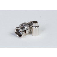 RG-59 and RG-62 Teflon (Plenum) Male 2-Piece Crimp-On BNC Connector, 75 Ohms (PKG/10)