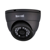 Indoor Dome Camera, IR LEDs +/- 50', Color, 700TVL, 12VDC, 3.6mm, NTSC, Grey Housing