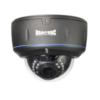 Vandalproof Indoor/Outdoor Dome Camera, IR LEDs +/- 100', Color, 700TVL, 12VDC/24VAC, 2.8-12mm, IP65, NTSC, Black Housing