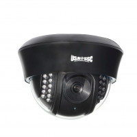 Indoor Dome Camera, IR LEDs +/-  80', Color, 420TVL, 12VDC, 3.6mm, NTSC, Black Housing