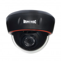 Indoor  Dome Camera, Color, 700TVL, 12VDC, 4mm, NTSC, Black Housing