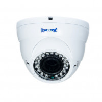 Indoor/Outdoor Dome Camera, IR LEDs +/- 100', Color, 700TVL, 12VDC, 4-9mm, IP65, NTSC, White Housing