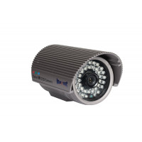 Indoor/Outdoor Bullet Camera, IR LEDs +/- 100', Color, 600TVL, 12VDC, 3.6mm, IP66, NTSC, Grey Housing