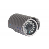 Indoor/Outdoor Bullet Camera, IR LEDs +/- 50', Color, 600TVL, 12VDC, 3.6mm, IP66, NTSC, Grey Housing