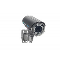 Indoor/Outdoor Bullet Camera, IR LEDs +/- 100', Color, 420TVL, 12VDC, 4-9mm, IP66, NTSC, Grey Housing