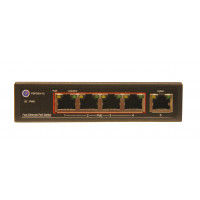 CCTV PoE SWITCHES - 10/100 - UNMANAGED - W/ UPLINK -  4  Port, 15.4W per port, 1 Uplink Port - 65W