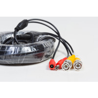 Pre-made All-in-One CCTV Security Camera Cable: BNC Video Connectors and 2.1x5.5mm Power Plugs, 50 Ft, Black Cable