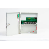 CCTV Power Supply w/Battery Backup, 12VDC, 18 Outputs, 10 Amps- w/output PTC protection, UL Listed