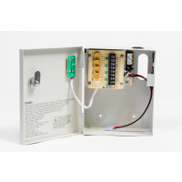 CCTV Power Supply w/Battery Backup, 12VDC, 4 Outputs, 5 Amps- w/output PTC protection, UL Listed